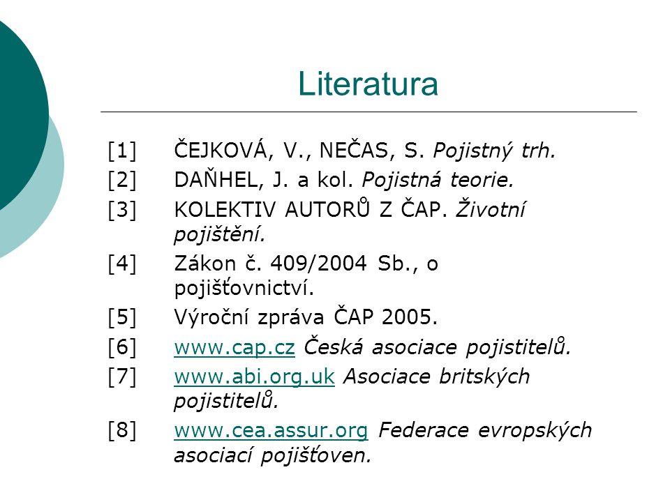 Literatura [1] ČEJKOVÁ, V., NEČAS, S. Pojistný trh.